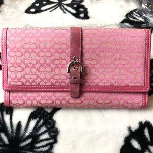 Coach Signature Pink Canvas Wallet